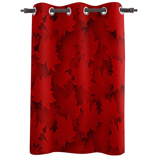 """Blackout Curtain Panel, Canada National Day Red Maple Leaves Print Happy Canada Day Grommet Thermal Insulated Room Darkening Window Drapes for Bedroom Living Room, Set of 1 Panels, 52""""x84"""""""