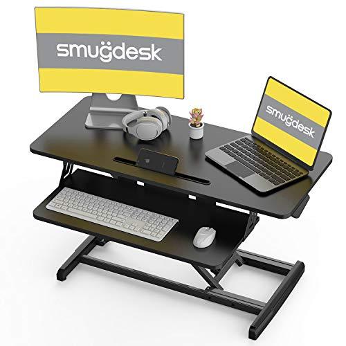 Standing Desk, Sit Stand Up Desk Height Adjustable Table 36 inch Standing Desk Converter, Ergonomic Tabletop Workstation Desk Riser, Home Office Desk with Keyboard Tray for Laptop
