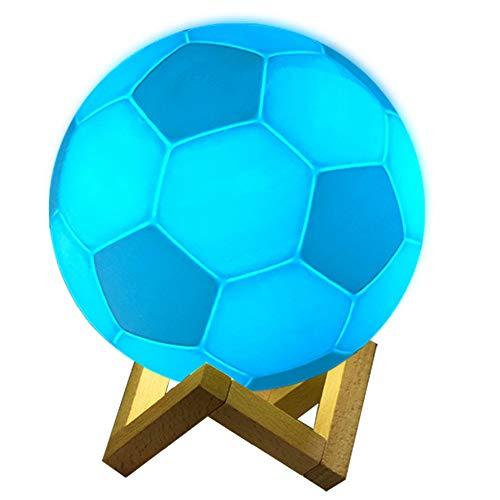 KOIJWWF Luz Nocturna táctil/Control Remoto 16 Colores Impresión 3D Intercambiable Diseño de fútbol Lámpara de Mesa LED Lámpara de Noche de fútbol Regalos para niños