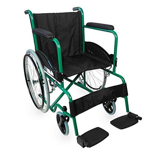 Mobiclinic, modelo Alcazaba, Silla de ruedas para minusválidos, premium, manual, plegable, ortopédica, freno en manetas, reposapiés, reposabrazos, color Verde, asiento, ultraligera ✅
