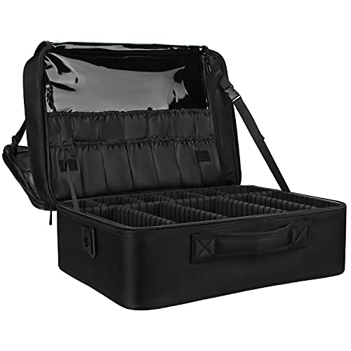 Relavel Makeup Bag Travel Makeup Train Case 13.8 inches Large Cosmetic Case Professional Portable Makeup Brush Holder Organizer and Storage with Adjustable Dividers (s super large black)