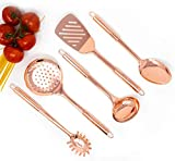 Copper Cooking Utensils for Cooking/Serving, Rose Gold Kitchen Utensils -Stainless Steel Copper Serving Utensils Set 5 PCS-Copper Ladle, Serving Spoon, Pasta Serving Fork, Spatula, Kitchen Skimmer