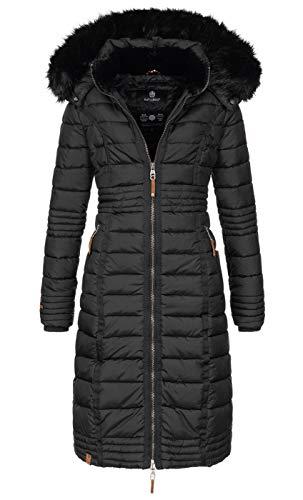 Navahoo Damen Wintermantel Mantel Steppmantel Winter Jacke lang Stepp warm Teddyfell B670 [B670-Uma-Schwarz-Gr.XXL]