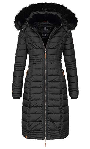 Navahoo Damen Wintermantel Mantel Steppmantel Winter Jacke lang Stepp warm Teddyfell B670 [B670-Uma-Schwarz-Gr.XL]