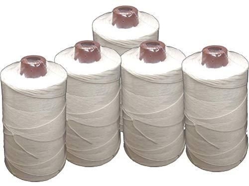 PAMPOLS Pack 5 Hilos de poliéster resistente y grueso BLANCO para coser sacos (Cada bobina pesa 200 gr y mide 11 cm de alto)