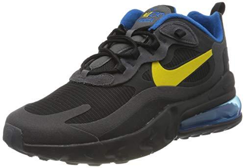Nike Air Max 270 React, Scarpe da Corsa Uomo, Black/Tour Yellow-Dark Grey-Blue Spark, 41 EU