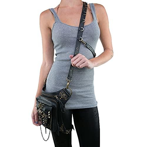 X-xyA Steampunk Bag Fanny Packs para Las Mujeres Punk Locomotor Bag Single Hombro Messenger Bag Femenino Teléfono Móvil Bolsa De Cintura De Moda Accesorios De Moda,Negro