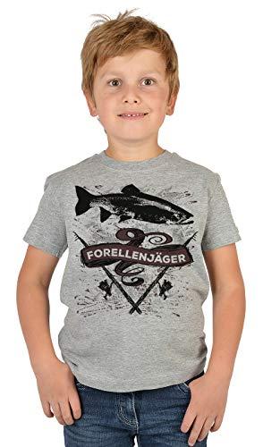 Kinder Angler T-Shirt, Kinder-Shirt Motiv Angel-Sport : Forellenjäger,- Bekleidung Kinder Angeln, Coole Sprüche Gr: L = 146-152