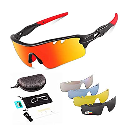 Toneoesol Polarized Cycling Sunglasses for Men Women with 5 Interchangeable Lenses Golf
