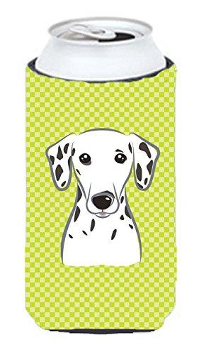 Checkerboard Vert citron Dalmatien Tall Boy Koozie Hugger Bb1272tbc