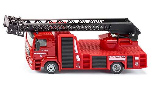 siku 2114, Feuerwehr Drehleiter, 1:50, Metall/Kunststoff, Rot, Ausziehbare Drehleiter