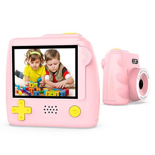Winnovo Kinderkamera Digital Kamera für Kinder P10 Digitalkamera 2.0 Zoll, Kind Fotoapparat, 5.0 Mega Pixel, mit 32GB Speicherkarte, Kartenleser und USB Kabel, Deutsch (Rosa)