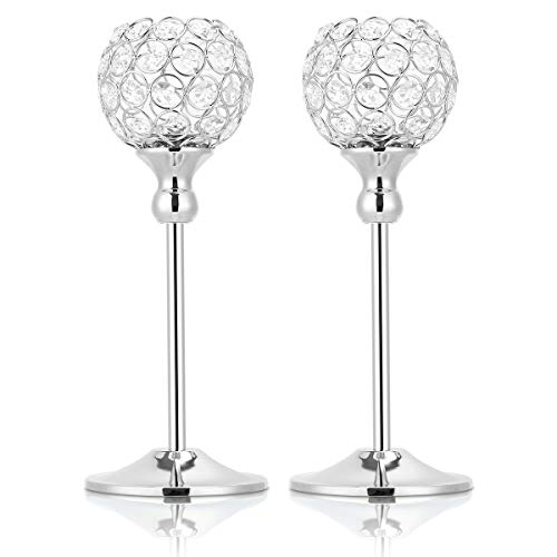 Widousy Silver Crystal Pillar Candlestick Holders Set of 2 for Wedding Coffee Table Decorative Centerpieces/Anniversary Celebration House Decor Gifts