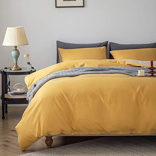 Boqingzhu Bettwäsche 135x200cm 4Teilig Gold Gelb Beige Taupe Uni Wende Bettwäsche Set Microfaser Bettbezug mit Reißverschluss und Kissenbezug 80x80cm