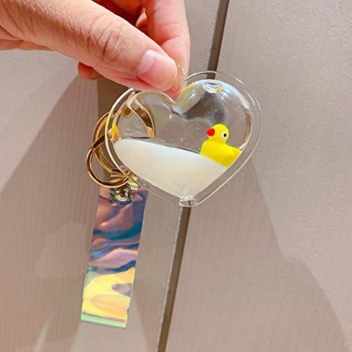 xinyawl Llavero creativo de dibujos animados pequeños de pato amarillo llaveros flotantes de arena movediza a la deriva de la botella llaveros para las mujeres bolsa de escuela joyería corazón