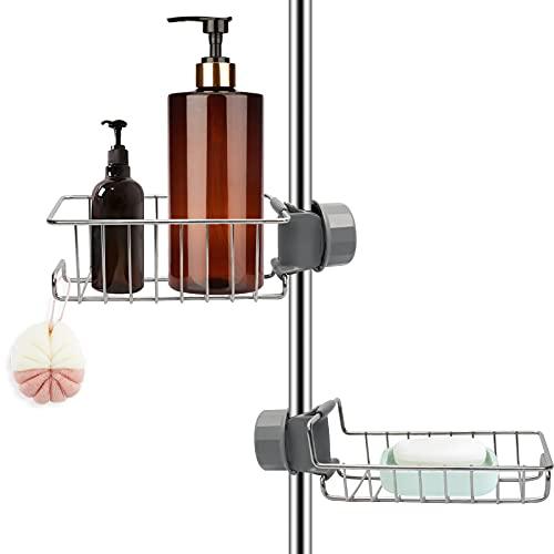 2 Stück Duschablage ohne Bohren Edelstahl, Duschregal Rostfrei Duschkorb für Duschstange, Shampoo Halterung Duschgelhalter Seifenhalter für Dusche, Schwammhalter Organizer für 18-27mm Stange
