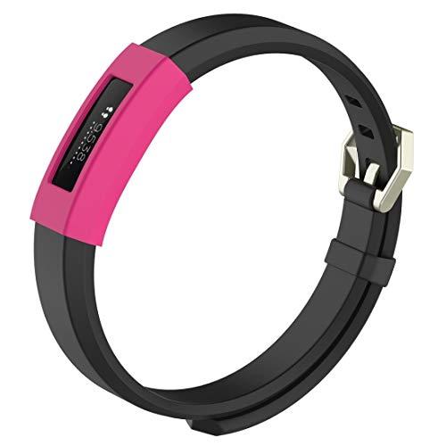 YANGZILING QUELLIA Dispositivo portátil Inteligente, Funda Protectora del Reloj del silicón del Color sólido for Fitbit Alta/HR (Negro) (Color : Rose Red)