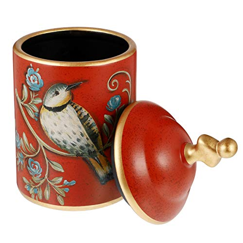 HEALLILY Chinese Ceramic Tea Canister Vintage Bird Pattern Tea Tins Containers with Lid Tea Pot Tea Caddy Food Storage Jar Red
