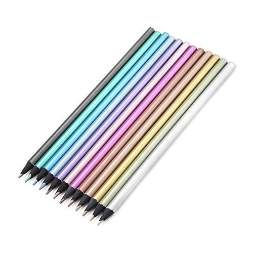 Buntstifte, 12 Farben Premium Metallic Buntstifte ungiftig Schwarz Holz Buntstifte Set Rundgriffhalter Student Schreibwaren