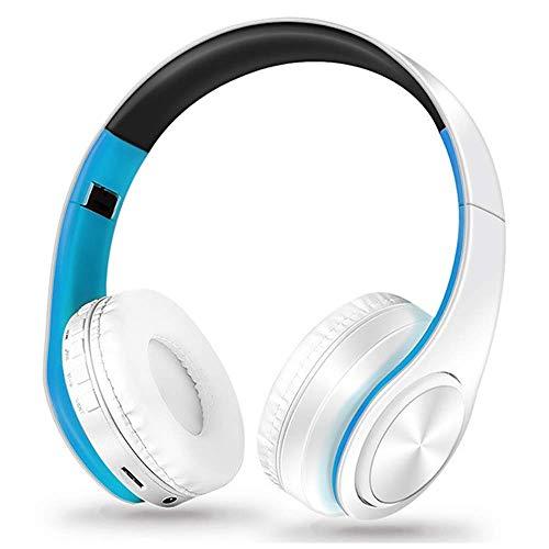 ZKUROZOXY Auriculares Bluetooth en la oreja Auriculares inalámbricos estéreo Auriculares inalámbricos con micrófono para PC Celulares TV (Azul-Blanco)