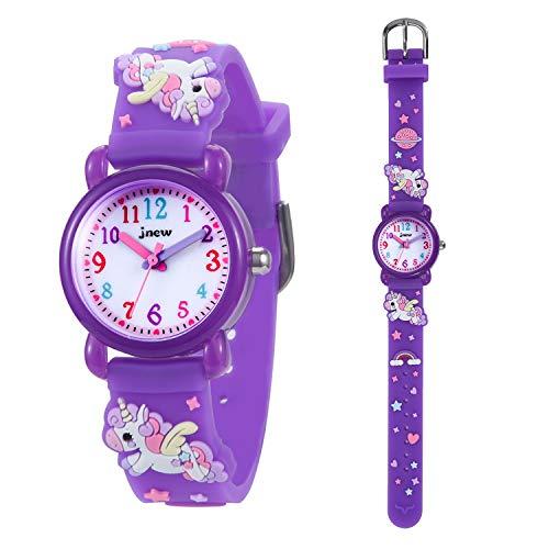 KZKR Kinderuhr Mädchen Armbanduhr Quarz Analog Lernuhr Lila Mädchenuhr Geschenk Uhr Lila