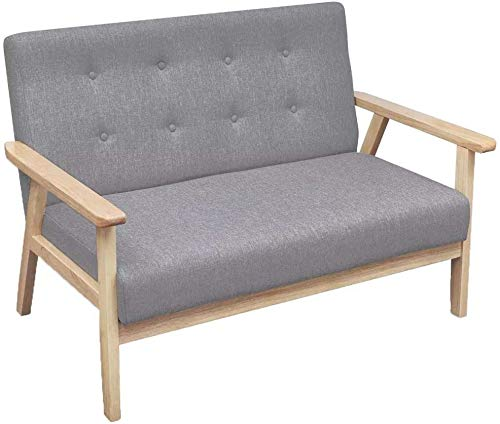 La silla de la sala/comedor con un sillón de madera retro nórdica casual y tapizado de tela, gris,Grey