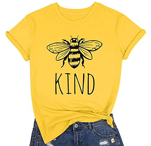 Bee Kind T Shirts Women Funny Inspirational Teacher Fall Tees Tops Cute Graphic Blessed Shirt Blouse Size L (Yellow)
