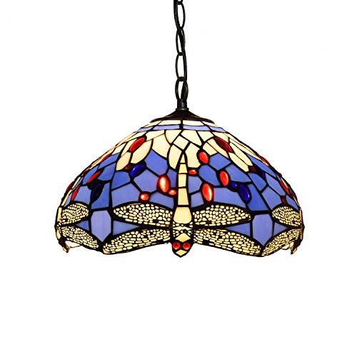 Kunyun 12 Inch Tiffany Pendant Light Personality Purple Mediterranean Blue Dragonfly Pendant Lights Glass Light Fitting For Bedroom Restaurant Café`