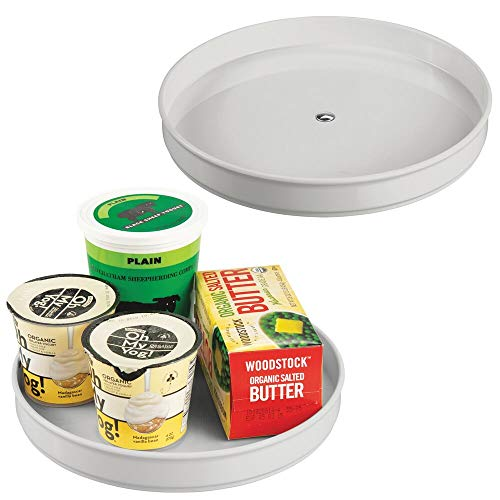 mDesign - Draaiplateau - kruidenrek/kruidenstandaard - voor buffetkast en keukenkast - voor peper, bakingrediënten en confituur - rond - steen - per 2 stuks verpakt