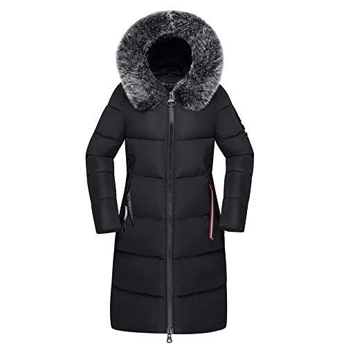 Winter Warme Grote Wollen Kraag Katoenen Jas Dames Donsjas Capuchon, Zwart, 3XL