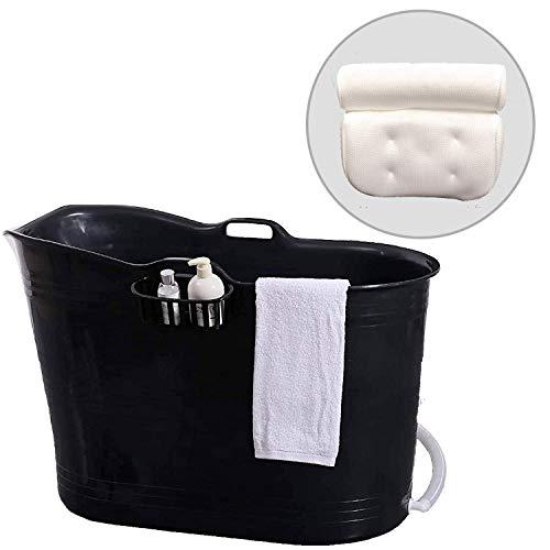 FlinQ Bath Bucket con Cuscino Nero | Vasca da bagno mobile per adulti con Cuscino per il collo | Vasca da bagno adulti XL e bambini | Vasca da bagno in plastica portatile per doccia