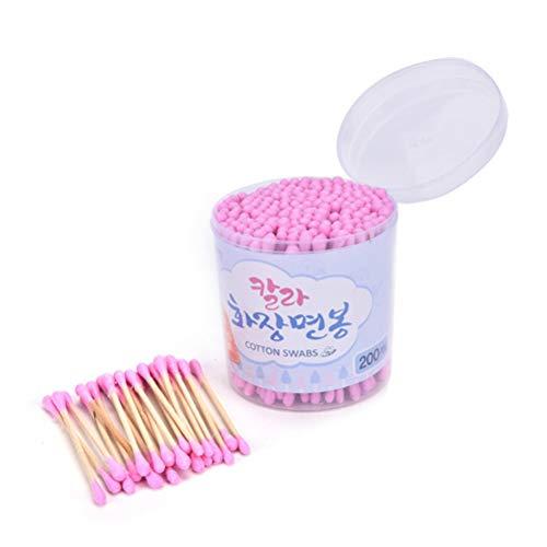Demarkt 200 stuks 1 boxen wattenstaafje van hout bont dubbelkop wattenstaafje make-up wegwerp reiniging wattenstaafje
