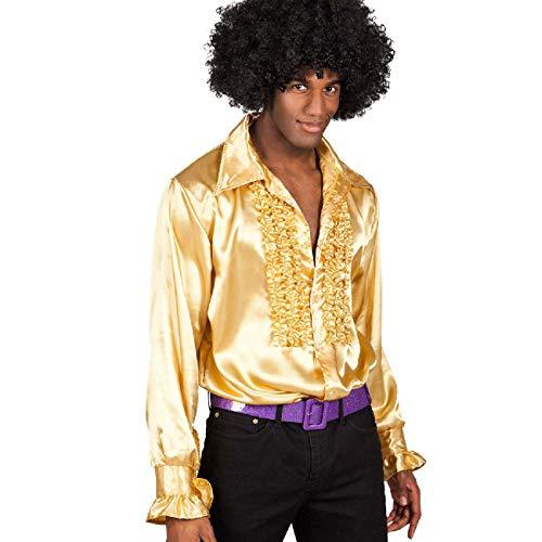 Boland 02162 - Disco Hemd mit Rüschen, Gold, Größe L/50-52, für Herren, Kostüm, Party Shirt, Schlagermove, 70er Jahre, Mottoparty, Karneval