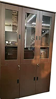 OFFBEET Marketing Wooden Pre Laminated Cupboard with 3 Glass Fitting Doors and 3 Cabinets High Durability and Strength