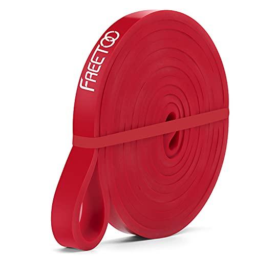 Freetoo Fitnessband / Gymnastikband, aus Gummi, hoher Widerstand, für Dehn- und Ziehübungen, für Männer und Frauen geeignet, in 5 verschiedenen Stärken erhältlich, Red (15-35 lbs)