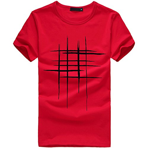 TWGONE Men T Shirts Graphic Fashion Printing Tees Short Sleeve Cotton Blend Casual Tops(XX-Large,Red)