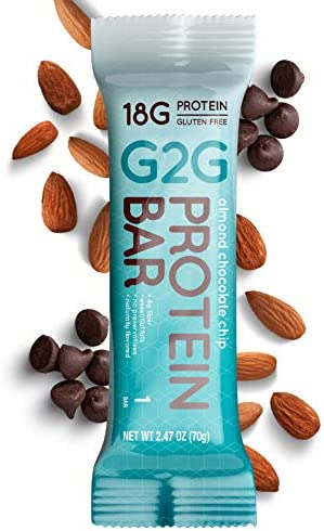 G2G Protein Bar, Almond Chocolate Chip, Healthy Snack, Delicious Meal Replacement, Gluten-Free, Clean Ingredients, Refrigerated for Freshness, 8 Count (Pack of 8)