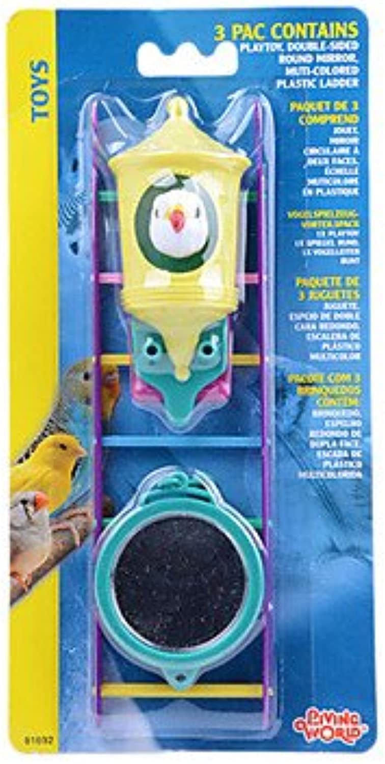 Quick shopping 3 in 1 Mirror Stairs toys Set for Bird and Parred