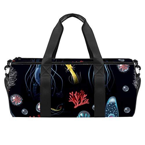 LAZEN Hombro Handy Sports Gym Bags Travel Duffle Totes Bag para hombres, mujeres, medusas, corales, algas marinas