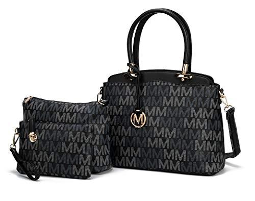 Mia K Collection Shoulder Bag for Women, Crossbody Purse & Wristlet: PU Leather Satchel Pocketbook 3 PCs Handbag Set Cammy Black