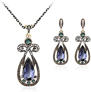 Resin Rhinestone Gold Plated Necklace Earrings Party Shining Jewelry Set