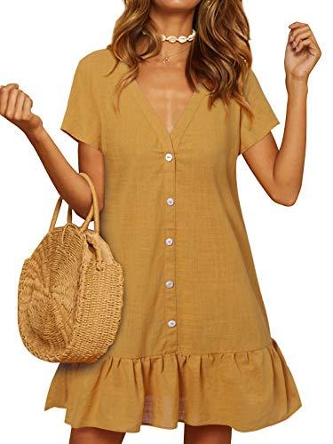 YOINS Damen Sommerkleid Kurzarm Minikleid Einfarbig V-Ausschnitt Homewear Blusenkleid mit Knopfen T-Shirtkleider Tunikakleid Gelb S