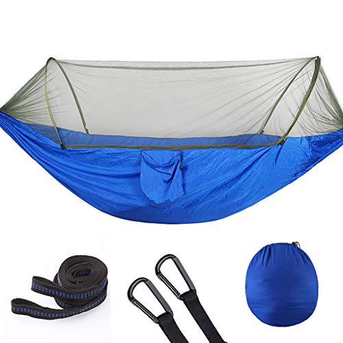 WFWT Camping Hammock with Mosquito Bug Netting Packable Hammock for Backpacking Camping Travel Beach Yard with Tree Straps and Carabiners 250 * 120cm,Blue,290x140cm