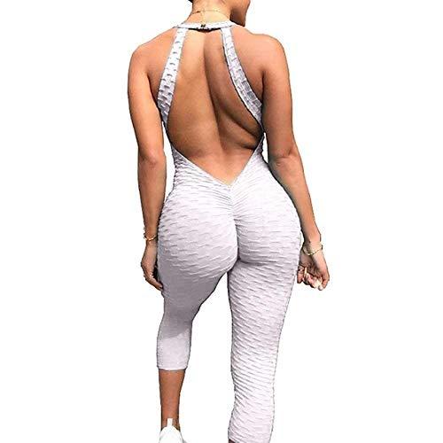 BAIDEFENG Leggings Mujer Deporte Cintura,Pantalones de chándal de Nido de Abeja para Mujer, Mono de Yoga-While_L,Mujer Pantalon Deportivo Yoga Elásticos