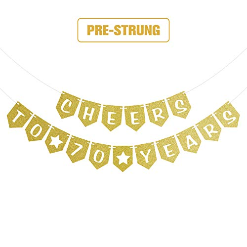 Cheers to 70 Years Pre-strung Gold Glittery Banner 70th Birthday Wedding Anniversary Party Decorations for Men Women