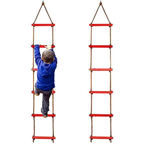 ZZSQ Kletterseilleiter, Kletterleiter Für Kinder Outdoor Spielzeug Trainingsgeräte Spielplatzleiterkits, Schaukelseilleiter Ninjaline Kletterseil,Rot