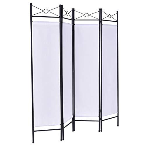 Goplus Trennwand 4teilig, Raumteiler Trennwand, Paravent 180 x 160 cm, Sichtschutzwand aus Eisen und Polyesterfasern, Wandschirm Balkon, Faltbar, Weiß