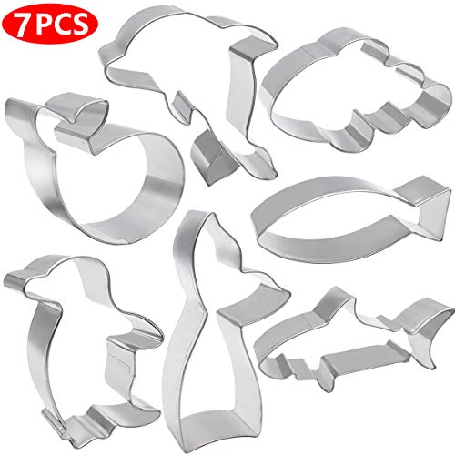 ANPOPO Ocean Creature Cookie Cutter Set - 7 Piece - Shark, Mermaid Tail, Whale, Fish, Dolphin and Penguin Metal Fondant/Biscuit Cutters With Stencil Set for Kids Birthday Party Supplies