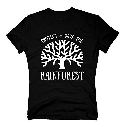 Herren T-Shirt - Protect & Save The Rainforest, schwarz-Weiss, XL
