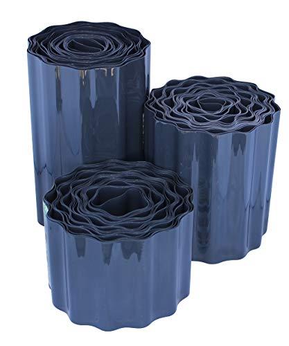 ARTECSIS 1x Rasenkante aus Kunststoff, 9 m x 20cm, Anthrazit, gewellt, Umrandung für Beete, Beeteinfassung, Rasenbegrenzung